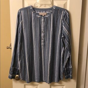 LOFT blue and white striped chambray top SZ Med